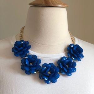 Statement Necklace  Blue flowers. Adjustable.
